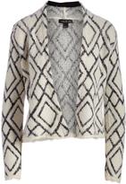 August Silk Cream Diamond Textured Open Cardigan