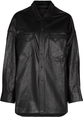 R 13 Oversized Leather Shirt