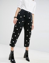 Asos Pearl Embellished Jeans In Washed Black
