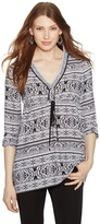 White House Black Market Long Sleeve Empire Printed Tunic Top