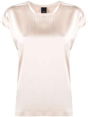 Pinko Short Sleeved Boxy Satin Top