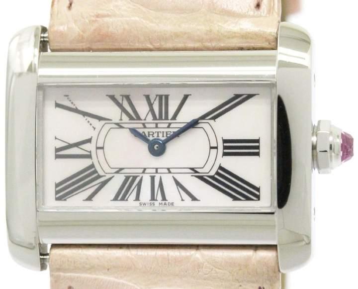 Cartier Mini Tank Divan W6301455 Stainless Steel / Leather Quartz 32mm Womens Watch