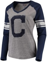 G Iii Women's G-III 4Her by Carl Banks Navy Cleveland Indians The Franchise Long Sleeve T-Shirt