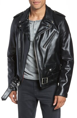 Schott NYC Waxy Cowhide Leather Motorcycle Jacket