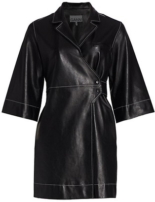Ganni Leather Wrap Dress