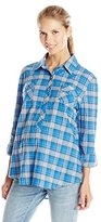 Everly Grey Women's Maternity Bethany Gauze Plaid Shirt