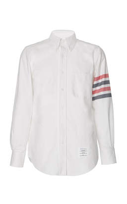 Thom Browne Stripe-Detailed Cotton-Flannel Button-Down Shirt Size: 2