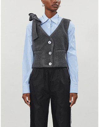 Selfridges Prada sleeveless shoulder-tie wool top