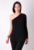 Black Long Sleeve One Shoulder Tee