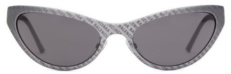 Balenciaga Logo-engraved Cat-eye Sunglasses - Grey