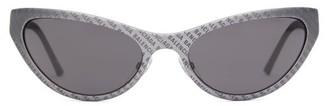 Balenciaga Logo-engraved Cat-eye Sunglasses - Mens - Grey