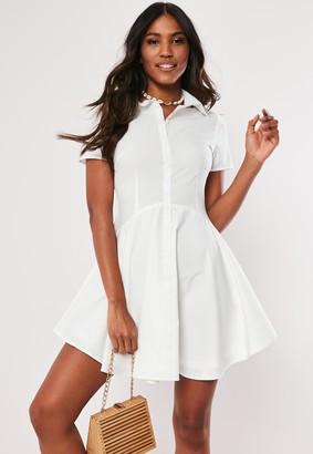 Missguided White Button Skater Shirt Dress