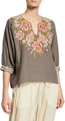 Johnny Was Cecile Floral-Embroidered Boxy Linen Peasant Blouse