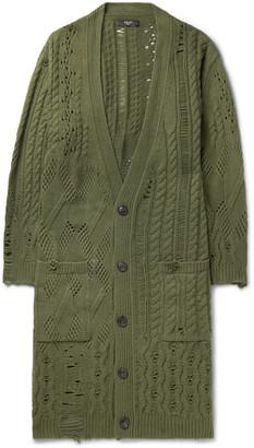 Amiri Distressed Wool And Cashmere-Blend Cardigan