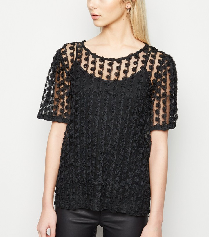 Thumbnail for your product : New Look 3D Mesh Floral Top
