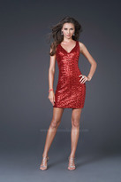 La Femme Plunging Back Sequin Cocktail Dress 15877