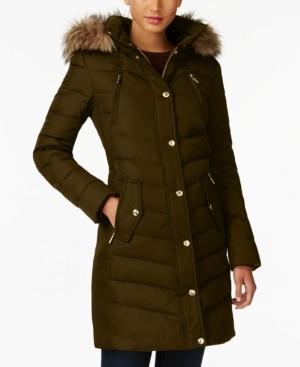 Michael Kors Michael Faux-Fur-Trim Hooded Chevron Down Puffer Coat, Created for Macy's