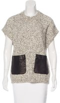 Thakoon Leather-Accented Knit Top