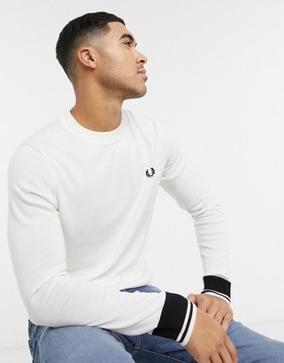 Fred Perry abstract tipped crew neck sweater in white