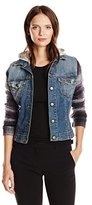 JET Corp Women's Plaid Sleeve Jean Jacket