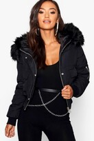 Thumbnail for your product : boohoo Petite Luxe Faux Fur Hood Sporty Cropped Coat