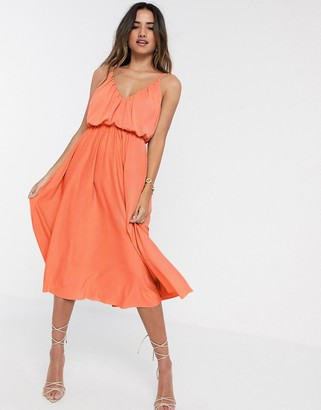 ASOS DESIGN cami plunge midi dress with blouson top in coral