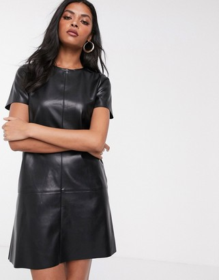 Stradivarius faux leather dress in black
