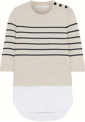 Veronica Beard Knot Mariner Oxford-paneled Striped Silk And Cashmere-blend Top