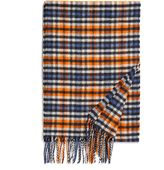 Johnstons of Elgin Orange and Blue Contemporary Tartan Merino and Cashmere-Blend Scarf