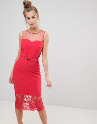 Little Mistress Midi Pencil Dress-Red