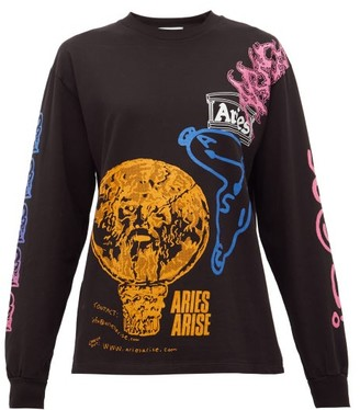 Aries French Monster Cotton Long-sleeved T-shirt - Womens - Black Multi