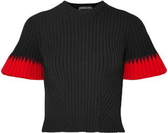 Alexander McQueen Cropped Ribbed Intarsia-knit Sweater