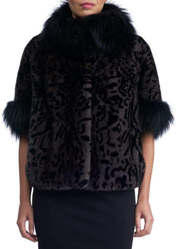 Gorski Mink Jacket with Fox Fur Stand Collar and Cuff