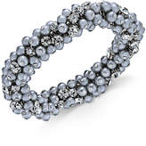 Charter Club Silver-Tone Crystal & Gray Imitation Pearl Cluster Bracelet, Only at Macy's