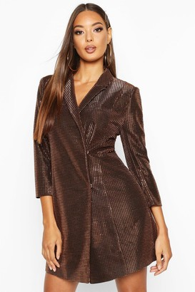 boohoo Metallic Blazer Dress