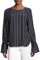 Frame Voluminous Cuff Silk Blouse, Navy & Blanc Pristine Stripe