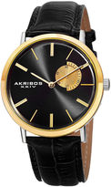 Akribos XXIV Element Mens Two-Tone and Black Leather Strap Watch