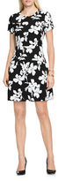 Vince Camuto Short Sleeve Fresco Blooms A-Line Floral Print Dress