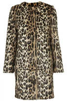Collarless faux fur coat in all over leopard print with front popper fastenings and side pockets. 100% modacrylic. dry clean only. length 82cm.