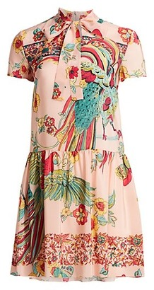 RED Valentino Bird-Printed Silk Dress