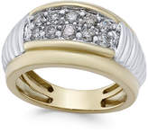 Macy's Men's Diamond Two-Tone Band (1 ct. t.w.) in 10k Gold and White Gold
