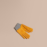Burberry Wool Cashmere Ribbed Trim Suede Gloves , Size: 8.5, Yellow
