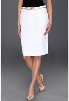 Calvin Klein Straight Belted Skirt (White) - Apparel