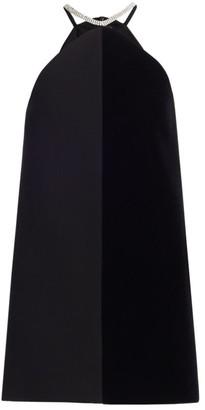 David Koma Crystal Chain Halterneck Split Shift Dress