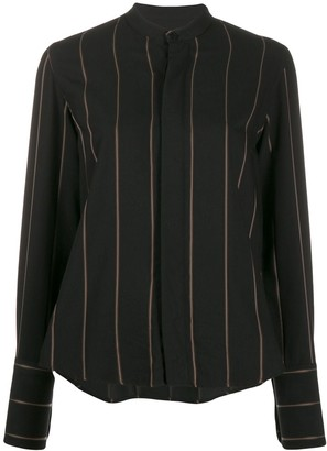 Ami Paris Striped Mandarin Collar Shirt