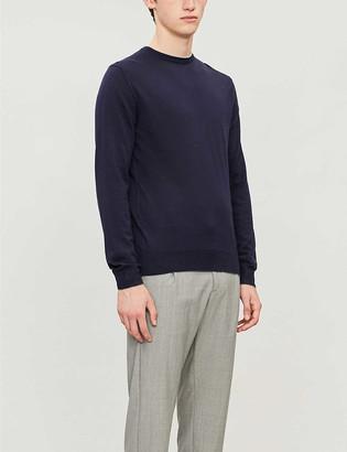Eleventy Contrast-trim wool and silk-blend jumper