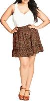 City Chic Floral Print Skirt