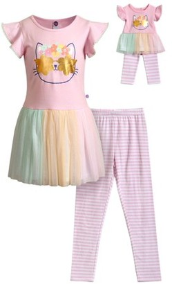 """Dollie & Me Girls 4-12 Flutter Sleeve Flower Power Kitty Tunic and Legging, 2-Piece Outfit Set With Matching 18"""" Doll Set"""