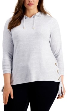 Belldini Plus Size Side-Laced Hoodie