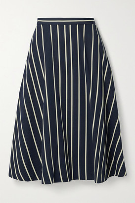 Jason Wu Collection Striped Twill Midi Skirt - Navy